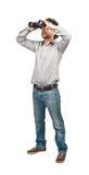 Человек с биноклями Стоковая Фотография RF