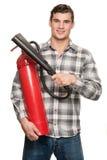 Человек с гасителем стоковое фото rf