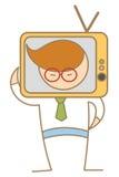 Человек с головкой TV Стоковые Изображения RF