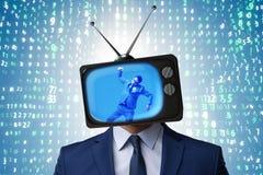 Человек с головой телевидения в концепции наркомании ТВ стоковая фотография rf