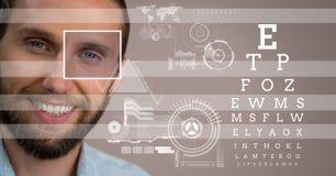 человек с деталью и линиями коробки фокуса глаза и глаз испытывают интерфейс Стоковая Фотография