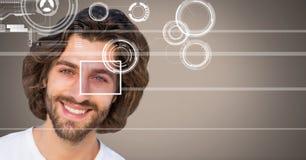 человек с деталью коробки фокуса глаза и линиями интерфейсом Стоковая Фотография RF