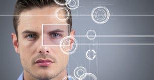 человек с деталью коробки фокуса глаза и линиями интерфейсом Стоковые Фото