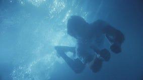 Человек с заплыванием бороды под водой и смотреть прямо к camere показывает большой как видеоматериал