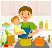 Человек с младенцем в кухне Стоковое Фото