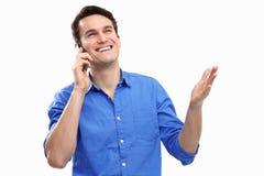 Человек с мобильным телефоном Стоковая Фотография