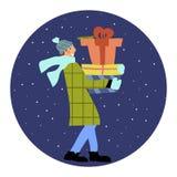 Человек с подарочной коробкой бесплатная иллюстрация