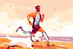 Человек с простетическими ногами бежать на seashore иллюстрация штока