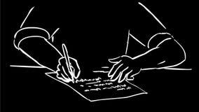 Человек с ручкой в анимации чертежа сочинительства руки 2D иллюстрация вектора