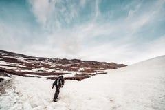 человек с рюкзаком в камуфлировании поднимает к верхней части горы Стоковая Фотография