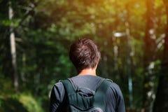 Человек с рюкзаком наслаждаясь прогулкой в парке Стоковое Фото