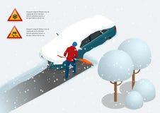 Человек с снегом чистки лопаткоулавливателя заполнил задворк вне его автомобиля Город после вьюги автомобиль покрыл снежок равнов иллюстрация вектора