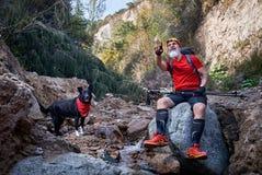 Человек с собакой в лесе стоковое изображение rf