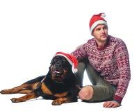 Человек с собакой Стоковая Фотография
