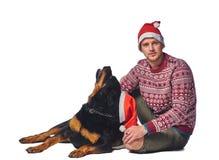 Человек с собакой Стоковое фото RF