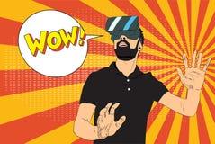 Человек с стеклами виртуальной реальности иллюстрация штока