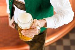 Человек с стеклом пива в винзаводе Стоковое Изображение
