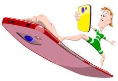 Человек с телефоном в его руках делает selfie пока стоящ, но surfboard в форме телефона иллюстрация вектора