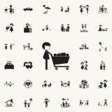 человек с carticon покупок Комплект значков семьи всеобщий для сети и черни иллюстрация штока