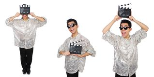 Человек с clapperboard кино изолированный на белизне Стоковые Фото