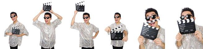 Человек с clapperboard кино изолированный на белизне Стоковое фото RF
