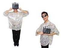Человек с clapperboard кино изолированный на белизне Стоковая Фотография RF