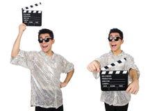 Человек с clapperboard кино изолированный на белизне Стоковые Фотографии RF