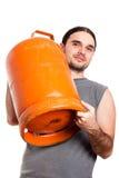 человек удерживания газа бутылки Стоковая Фотография RF