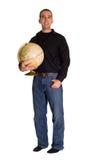 человек удерживания глобуса Стоковые Изображения