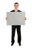 человек удерживания пустой карточки стоковая фотография rf