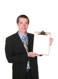 человек удерживания clipboard дела Стоковое Фото