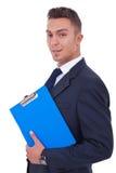 человек удерживания clipboard дела Стоковая Фотография RF