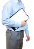 человек удерживания clipboard Стоковые Фото