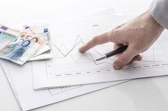 Человек указывая на финансовохозяйственный рапорт стоковые фотографии rf