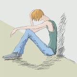 человек унылый иллюстрация штока