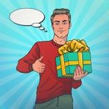 Человек усмехаясь и держа подарок иллюстрация вектора