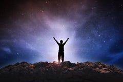 Человек успеха на космосе стоковое изображение rf