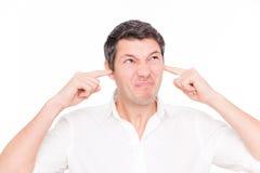 человек уха громкий Стоковая Фотография