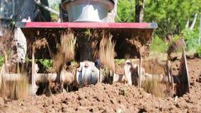 Человек фермер в пригородном районе, огород, плужки земля с рыхлителем, ручным плужком мотора, бросая глиной и видеоматериал