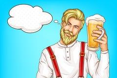 Человек хипстера со стеклянное полным вектора мультфильма пива иллюстрация вектора