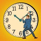 Человек хочет остановить часы Контроль времени иллюстрация вектора