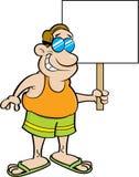 Человек шаржа в купальнике держа знак Стоковое Изображение