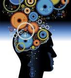 человек шестерен головной иллюстрация вектора