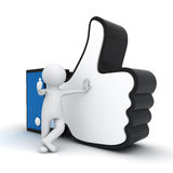 человек 3d показывая большой пец руки вверх с близким символом руки Стоковое Изображение