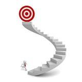 человек 3d работая к цели na górze лестниц Стоковые Фото