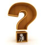 человек 3d сидя в деревянном вопросительном знаке Стоковая Фотография