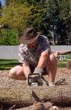 человек chainsaw Стоковое Фото
