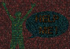 Человек Cyberbullying пораженный в мире кибер бесплатная иллюстрация