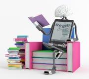 Человек EBook в стуле Стоковое Изображение RF