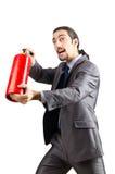человек firefighting пожара гасителя принципиальной схемы Стоковые Фотографии RF